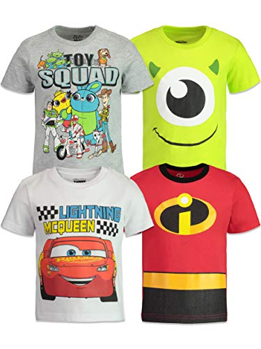 Disney Pixar Boys 4 Pack T-Shirts: Toy Story, Incredibles, Cars & Monsters Inc. 4T