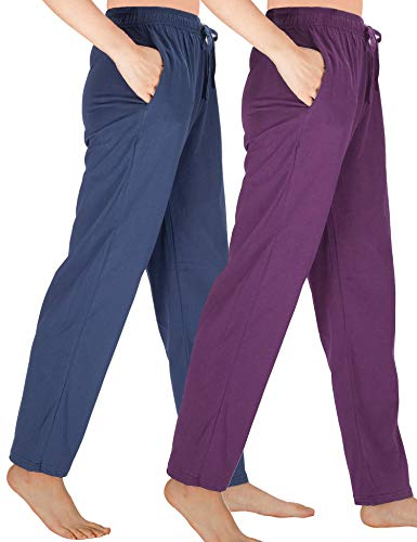 - WEWINK CUKOO Womens Pajama Pants Cotton Sleep Pants Stretch Knit Lounge Pants with Pockets (S=US 4-6, Navy+ Purple/Straight-Legged)