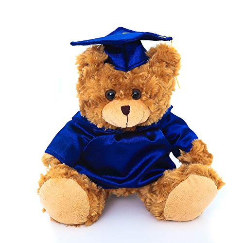 Plushland Plush Stuffed Animal Toys 12 Inches Present Gifts for Graduation Day, Personalized Text, Name or Your School Logo on Gown, Best for Any Grad School Kids (Navy Blue Gown)