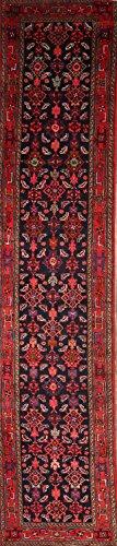 Rug Source One-of-A-Kind Nahavand Tribal Geometric Hand-Knotted 3x16 Blue Wool Persian Runner Rug (16' 3