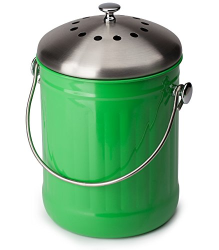 GREEN COMPOST BIN - Premier Quality, Eco Green Composting, Kitchen Countertop Compost Bin - 1.3 Gallon, with Charcoal Filter