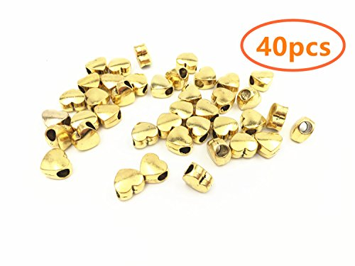 YYaaloa 40pcs Big Hole Heart Shaped Charms Pendants Beads 7x10x10mm DIY for Crafting Bracelet Necklace Jewelry Findings Making Accessory (40pcs Big Hole Heart Shaped Gold)