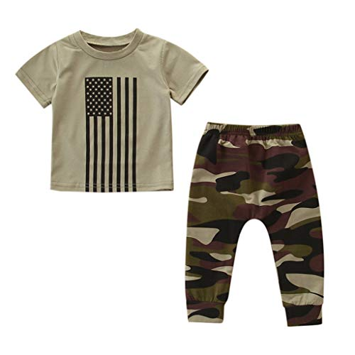 (LiLiMeng Toddler Kids Baby Boys Girls 4th of July Outfits Clothes Flag Print Short Sleeve T-Shirt+Camouflage Pants Set)