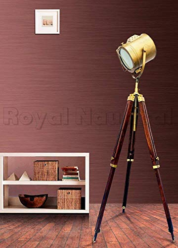 Antique Brass Floor Standing Spot Light Searchlight Spotlight Wooden Tripod Floor Lamp Lighting Stand