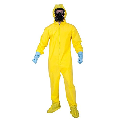 Bad Chemist Breaking Bad Mens Halloween Fancy Dress Costume Outfit Yellow Overalls Hazmat Boiler Suit Mask Gloves - LARGE - EM3218 by Wicked (Male Halloween Outfits)