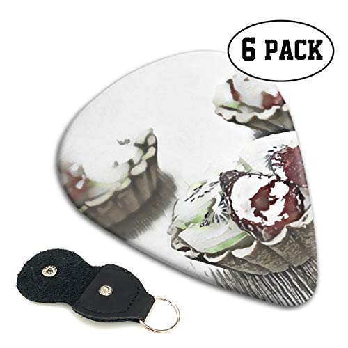 Dihrvh Three Kiwi Topped Tarts 6-Piece Guitar Picks 0.96 Mm, 0.71 Mm,&0.46 Mm Fashion for Electric Guitar, Acoustic Guitar, Mandolin, and Bass