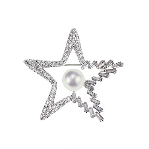 SHINYTIME Brooch Pin Star Shape Zircon Rhinestone with Clear Pearl Handmade for Wedding Bridal Dress
