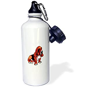 """3dRose wb_128956_1 """"Cute and Cuddly Canine Brown Basset Hound"""" Sports Water Bottle, 21 oz, White"""
