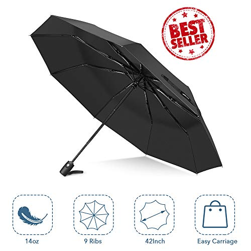 Nylon Umbrella Windproof (Windproof Umbrella, Auto Open & Close Travel Folding Umbrella with Teflon Coating, Reinforced 9 Ribs for One Handed Operation, Portable Fast Drying Umbrella, Slip-Proof Handle for Easy Carry, Black)