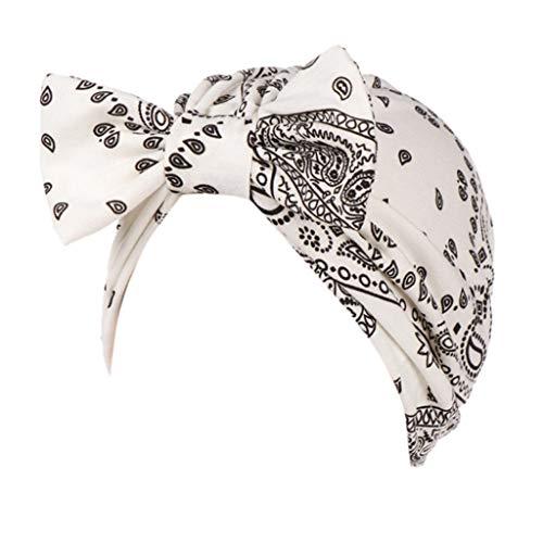 Stretch Trainer Cap Spring Fit - FEDULK Women Headscarf Headwrap Hijab Soft Head Wrap Stretch Cancer Chemo Muslim Cap Islamic Underscarf Hats(White)