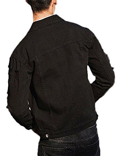 Uomini Di Lunghe Abbigliamento A Nero Maniche Giacca Jeans Giù Di Degli Idopy Casual Gira qvxUHwtXFn