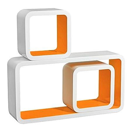Floating Shelves Orange Set Of 3 Cube CD DVD Toys Storage Display Shelf Bookcase