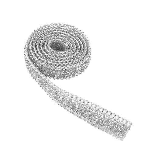 Rhinestones Belt, 1 Yard 0.8 Inch Double-Pointed Faux Rhinestone Ribbon Diamond Flower Shape Mesh Wrap Roll Crystal Ribbon Party Decorations Hanging Wedding Supplies(Silver)