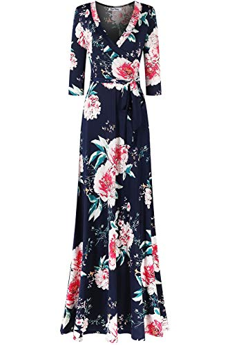 Bon Rosy Women's MadeInUSA 3/4 Sleeve V-Neck Printed Maxi Faux Wrap Floral Dress Summer Wedding Guest Party Bridal Baby Shower Maternity Nursing Navy L