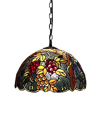 (12-inch Pendent Lamp, Tiffany Style Chandelier, European Creative Grape/Stained Glass Pendent Light, Art Hanging Light For Restaurants Living)
