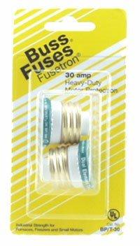 Fusetron Plug Fuse - Bussmann BP/T-30 30 Amp Type T Time-Delay Dual-Element Edison Base Plug Fuse, 125V Ul Listed Carded, 2-Pack