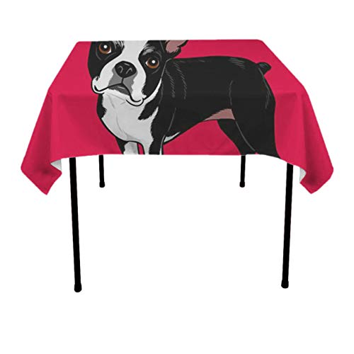 NiYoung Table Cloth, Dust-Proof Wrinkle Free Tablecloths, Square Boston Terrier Dog Machine Washable Table Toppers for Parties, Holiday Dinner, Wedding Home Table Decor ()