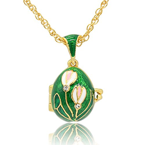 - MYD Jewelry Hand Enameled Tulip Flower Faberge Egg Locket Pendant Necklace (Green)