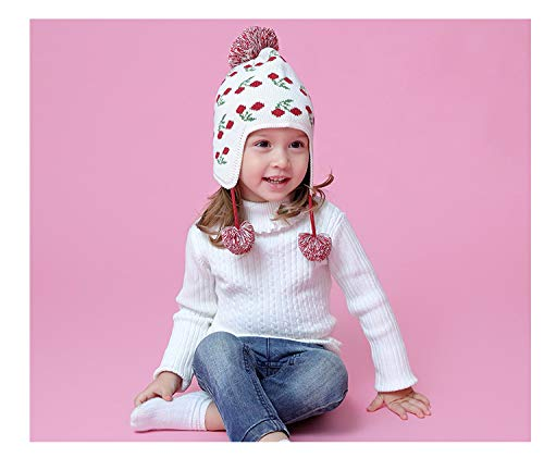 Girls Cute Fruit Embroidery Hat Scarf Set Kids Winter Knit Hat Cap with Earflap Pom