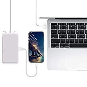 Replacement 60W/T-Tip Macbook Pro Charger Magsafe AC Power Adapter/Supply for Macbook Pro 13-inch (Models after 2012) with Extra USB for Charging Cellphones