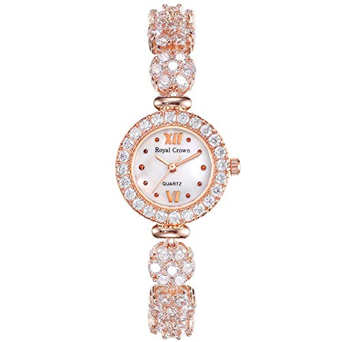 Royal Crown Women's Crystal-Accented Luxury Quartz Watch Rose Gold-Tone Bangle Series Women Fashion Wrist Watch Jewelry