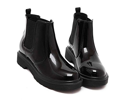 Botas de Chelsea Botas de caballero Bootie Mujer hermosa toalla redonda banda elástica 4cm Chunkly Heel Patente de cuero botas de tobillo grueso Locomotora Martin Botas Eu Tamaño 34-43 ( Color : Black Black plus velvet