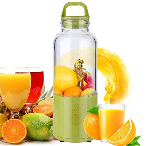 PowCube Cup Holead Portable Juicer Blender Mini Juice Extractor Eletric Rechargeable Mixer with USB Charger Cable 24oz High-Speed to Mix Ice Fruits, normal, Green