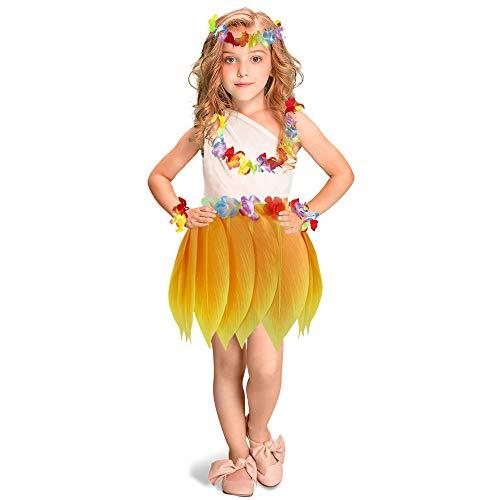 (Elastic Hula Skirt Hawaii Party Yellow Leaf skirt with Hibiscus Leis Headband Bracelets Garland(Kids 5PCS))