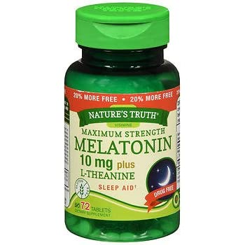 Natures Truth Melatonin 10 mg plus L-Theanine Tablets Maximum Strength - 72 ct, Pack of 2