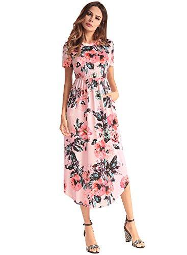 Et rose de Chic Longue Robe Vintage Manche Robe Longue Fleurie Midi Ronde Femme Maxi Cocktail 8n7HF8x