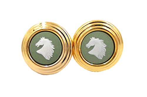 Wedgwood Gold Plate & Green Jasperware Earrings Blue Horse in Profile