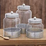 Set of 3 Country Glass Canisters - Galvanized
