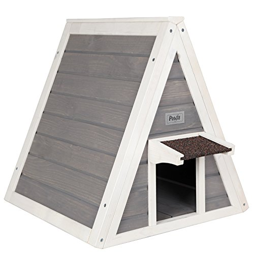 Petsfit Triangle Wooden Cat House with Back Escape Door, Front Door with Eave to Prevent Rain for Cat and Small Animals