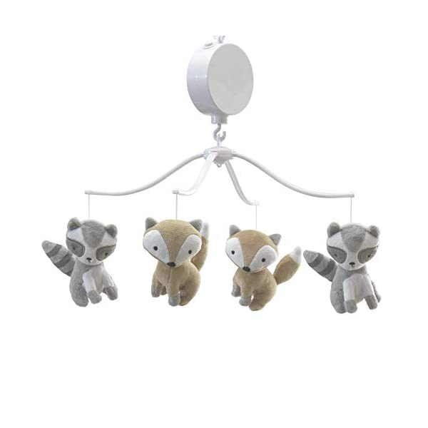 Bedtime Originals Little Rascals Forest Animals Musical Mobile, Gray/White