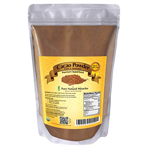 Cacao Powder, Organic Raw Unsweetened Cocoa, 16 Ounces, Crafted in Ecuador from the Rarest Variety on Earth by Pure Natural - Carob Powder Raw