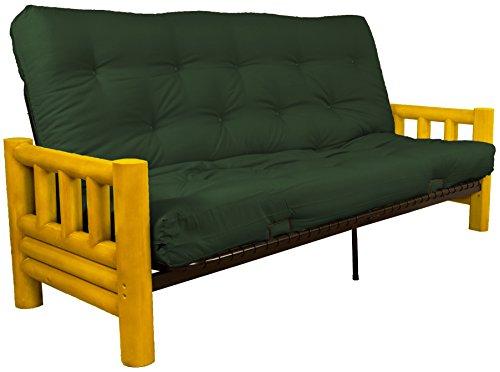 Rocky Mountain True 8-inch Loft Cotton/Foam Futon Sofa Sleeper Bed, Full-size, Twill Huntergreen Upholstery