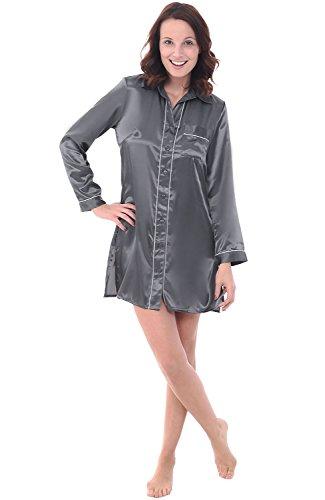 Alexander Del Rossa Womens Satin Nightgown, Long Boyfriend Style Button Front Sleep Shirt, Large Steel Grey (A0787STLLG)
