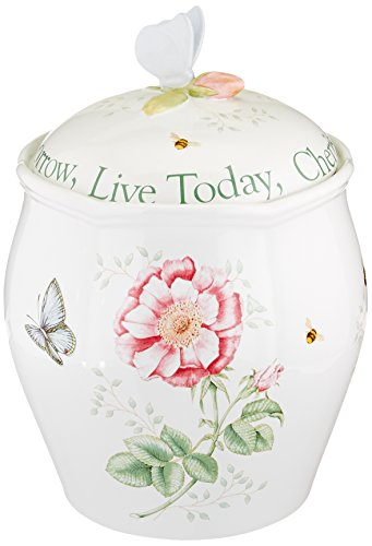 Lenox Butterfly Cookie Jar<br>Text says Live Today, Cherish Yesterday, Dream Tomorrow<br>9.5 Inches Tall