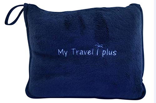 Exclusive Light Weight Airplane Travel Blanket Portable Cozy-Soft 2 in 1 Microfleece Blanket and Pillow in Compact Bag, Best Comfort and Deluxe Feel Guaranteed! (Navy Blue)