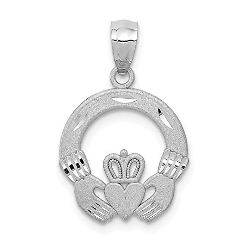 ICE CARATS 14kt White Gold Solid Irish Claddagh Celtic Knot Pendant Charm Necklace Fine Jewelry Ideal Gifts For Women Gift Set From (Gold Claddagh Pendant)