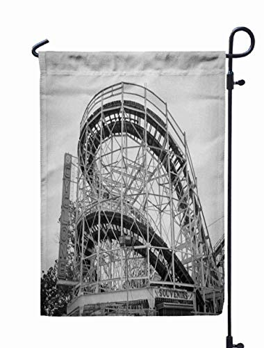 Shorping Decorative Outdoor Garden Flag, 12x18Inch New York USA June 12 2014 Coney Island's Fairground Attraction Coney Isl for Holiday and Seasonal Double-Sided Printing Yards Flags