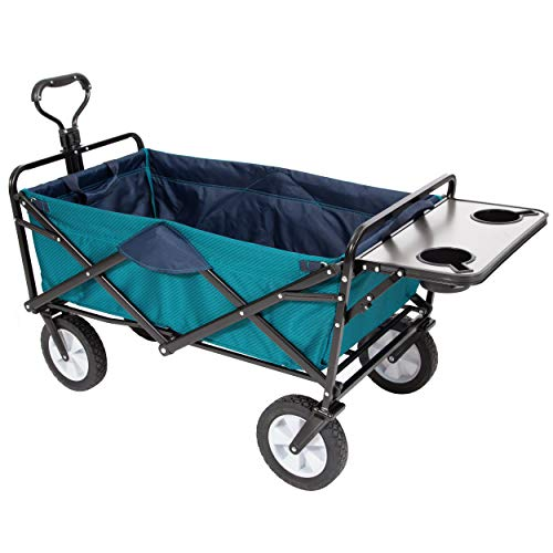 Mac Sports Collapsible Folding Outdoor Utility Wagon with Table and Cup Holders - Teal