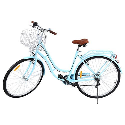🥇 Ridgeyard 28″7 velocidades señoras Ciudad Bicicleta Estilo holandés Bicicleta Deportes al Aire Libre Ciudad Urbana Bicicleta Shopper Bicicleta luz + Cesta + Campana + batería-Powered luz …