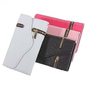 Magnetic Card Holder Zipper Flip Wallet Leather Case For iPhone 5C -*- Color -- Black