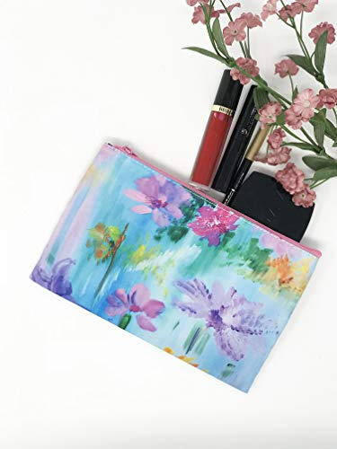 Cosmetic Makeup Bag, Zippered Purse Floral, Abstract Flower Bag Small