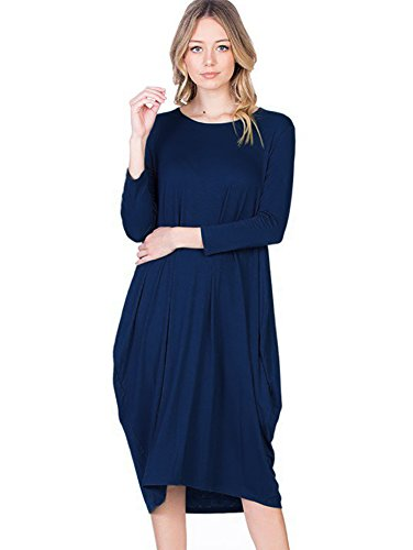 Navy Hem Tulip Dress - 12 Ami Round Neck 3/4 Sleeve Tulip Hem Midi Dress Navy M