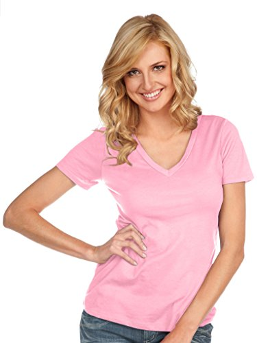 Kavio! Women Sheer Jersey Deep V Neck Short Sleeve Baby Pink L