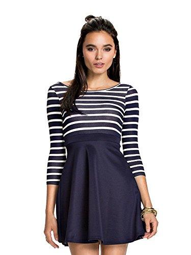 Damen Sommerkleid Gestreift 3/4 Arm mit Rücken Offen Blau Tailliert Größe S/M