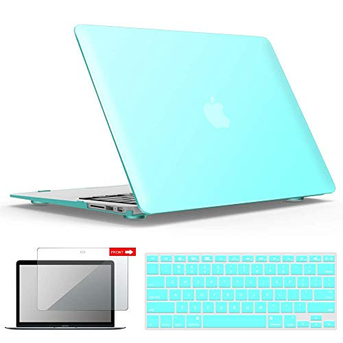 iBenzer MacBook Air 13 Inch Case, Soft Touch Hard Case Shell Cover with Keyboard Cover Screen Protector for Apple MacBook Air 13 A1369 1466 NO Touch ID, Aqua MMA13TBL+2