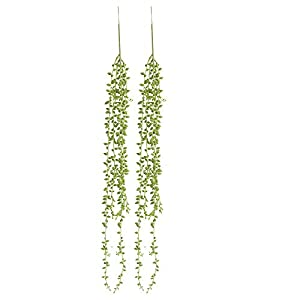 XGao 2pcs Artificial Succulents Beads Simulation Fake Flower Lover Tears Vine Wall Hanging Flowers Orchid Hanging Plants Garland Living Room Balcony Wedding Home Garden Outdoor Decoration (Green) 1